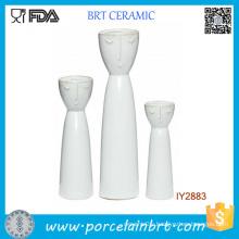 Set of 3 Ceramic White Porcelain Flower Happy Family Vase