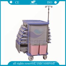 AG-MT011A1 Doppel Schubladen ABS medizinische Trolley im Notfallwagen verwendet