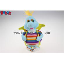 "10 ""Cute Blue Cartoon gefüllte Dinosaurier Plüschtier mit bunten Overallsbos1197"