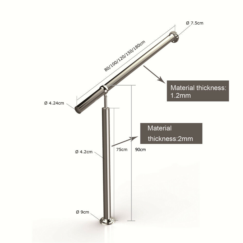 Height Adjustable Durable Stainless Steel Hall Handrail