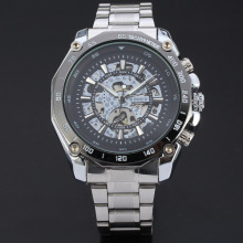 winner sport men watch bezel insert with skeleton design