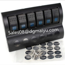 Panel de interruptor oscilante marino de 6 patillas con LED