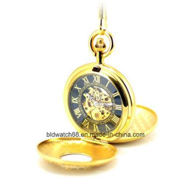 Горячие мужские золотые механические карманные часы для продажи