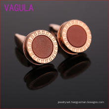 VAGULA Wedding Rose Gold Gemelos Cuffs Diamond Cuff Links Round Cufflinks L52307