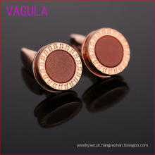 Rose Gold Plating Notes Rodada Cufflinks de casamento L52307