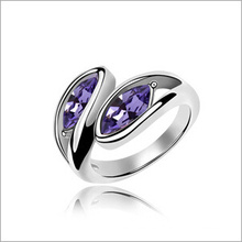 VAGULA par hoja Rhinestone moda anillo de bodas