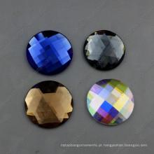 Pedras redondas da joia da parte traseira lisa da pedra de vidro de 30mm