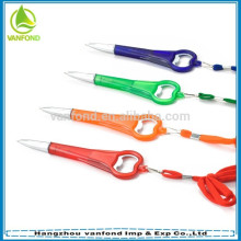 Cheap promotional bottle opener pen with lanyard