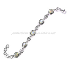 Beautiful Rainbow Moonstone Gemstone 925 Sterling Silver Bracelet Jewelry