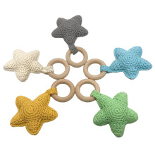 Baby Rattle Baby Bed Hanging Rattles Toys DIY Christmas Star 1PC Weaving Crochet Wood Cotton Wooden Ring
