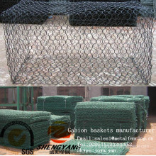 China wholesale gabion mesh boxes 1mx1mx1m factory supplying stone gabion mesh cages twist woven PVC gabion baskets manufacturer