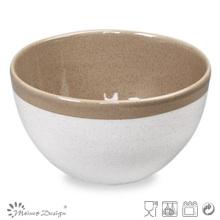 Tazón de cerámica de 14 cm, dos tonos blanco brillante y marrón con borde