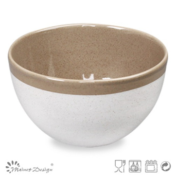 14cm Ceramic Bowl Two Tone Glazewhite and Brown with Rim