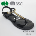 2016 Latest Design Flat Women Crystal Pvc Jelly Sandals