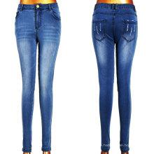 Pantalones vaqueros de alta moda de las mujeres del rasgón