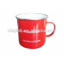 red enamel drinking mug with PP lid and SS rim