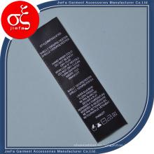 Impresión personalizada Etiqueta de cuidado de lavado para la etiqueta de la ropa