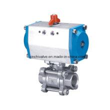 Válvula de bola de actuador de control neumático de acero inoxidable