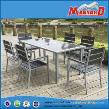 En aluminium Patio Polywood meubles 6 personne dinant l'ensemble