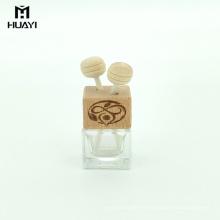difusor de aroma al por mayor 5 ml de salida de aire cuadrado vacío botella de perfume del coche con tapa de madera