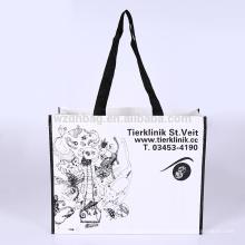 Reutilizable Eco Durable laminado polipropileno PP tejido compras bolsa supermercado para promoción, supermercado y publicidad