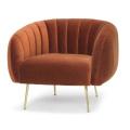 Mid century design indoor wooden orange velvet tufted sofa recliner bedroom loveseat sofa
