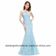 Women Lace Sleeveless V-Neck Long Evening Party Prom Dress