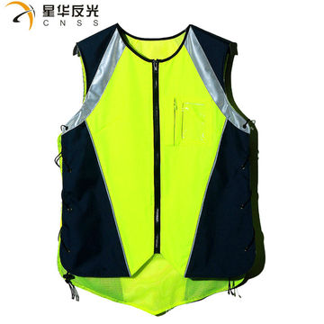 CNSS customized design fluorecent yellow high visibility reflective safety vest