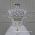 XFM008 hot sexy deep neckline with cap sleeves heavy bridal dress