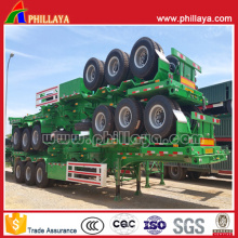 Suspensión mecánica Tri-Axle 40ft Container Transport Skeleton Semi Trailer