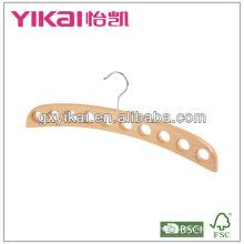 Percha plana de madera natural de la bufanda de la venta caliente con 10 agujeros