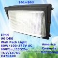 populäre verkaufende amerika kanada markt ip44 60 watt 100lm / w hohe lumen effizienz tuv ce ul e470400 led wand packungslicht led-licht