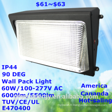 Populaire vente amérique canada marché ip44 60 w 100lm / w haute lumen efficacité tuv ce ul e470400 led wall pack lumière led lumière