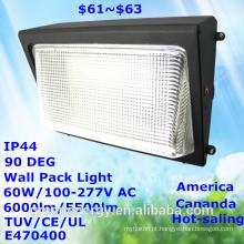 Mercado de venda popular américa canadá ip44 60 w 100lm / w alta lumen eficiência tuv ce ul e470400 levou pacote de parede luz led luz