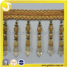 Lange goldene Perlen Quaste Fransen, Perlen frange
