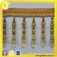 long golden beaded tassel fringe,beads frange