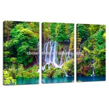 Природный пейзаж Цифровая фотопечать / водопад 3 панели Холст печать / настенное украшение Холст Art