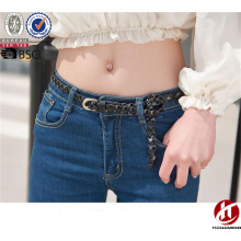 High Quality Cowhide Real Leather Belt Slim Braided Fabric Belts for Ladies