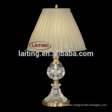 European Antique Fabric Crystal Table Lamps for Bedroom