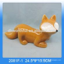 2016 handmade artesanato cerâmica raposa home decor, figurinha de cerâmica fox