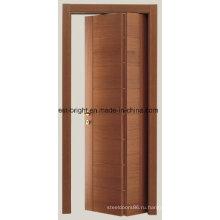 Самомоднейший Твердый Деревянный Интерьер Двери Складчатости