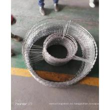 Bobina de alambre galvanizada de Concertina del alambre de púas de la maquinilla de afeitar