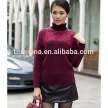 Stoll machine à tricoter en cachemire épais pull à col roulé de la femme