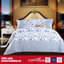 100% Algodão 200TC Cetim Impresso Bedding Bed Bed Linen Fornecedor