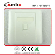 High Quality 86x86mm AP Type RJ45 Network Single Faceplate with shutter