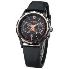 casual curren leather band watch two eyes date frame