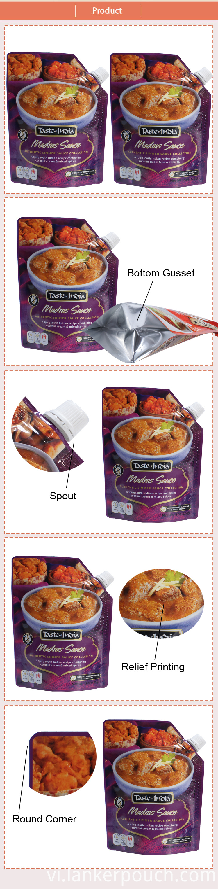 Packaging Bag Spout Meat Sauce Food Retort Pouch