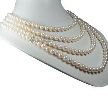 4 пряди ожерелье перлы (E1355)