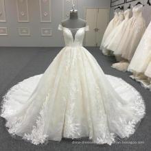 De alta qualidade bordado frisado mais recente projeto vestido de noiva 2017 WT344