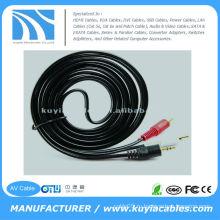 10FT (3M) 3,5 мм стерео кабель для 2-RCA Мужской вилки AV-кабели Аудио Видеокабель
